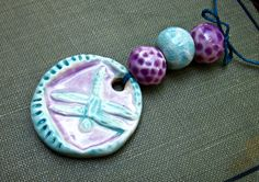Ceramic Dragonfly Bead Bundle Pink and Blues by JeraLunaDesigns