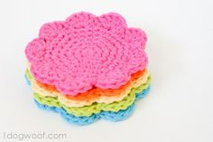 flower coasters - free #crochet pattern