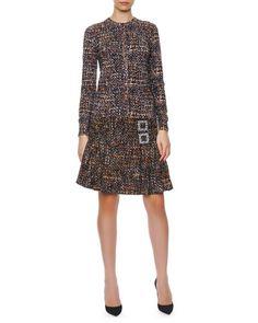 Dolce & Gabbana Button-Down Printed Tweed Cardigan, Sleeveless Printed Tweed Sweater & Double Crystal Buckle Tweed A-Line Skirt