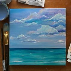 acrylic on canvas seascape, cloud painting. Simple Canvas Paintings, Small Canvas Art, Cute Paintings, Mini Canvas Art, Seascape Paintings, Wow Art, Cool Art Drawings, Acrylic Art, Watercolor Art