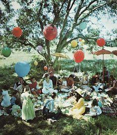 helium balloons anchored by mesh nets...umbrellas #balloon #garden #party #magical
