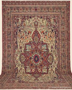 "LAVER KIRMAN, 12' 5"" x 17' 11"" — Late 19th Century, Southeast Persian Antique Rug - Claremont Rug Company"