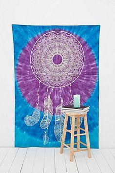 Tie Dye Dreamcatcher Tapestry Throw