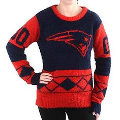 NFL Football 2015 Womens Eyelash Ugly Sweater  Pick Team New England Patriots Large -- Details can be found by clicking on the image.