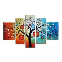 Cuadros Abstractos Arbol De La Vida Etnicos Pinturas Flores - $ 2.527,00