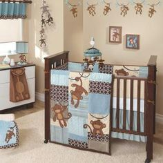 Unique Blue and Brown Suede Monkeys Baby Boy Nursery 5pc Crib Bedding Quilt Set