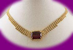 Vintage Statement Necklace Crystal Amethyst by IRENESVINTAGEBLING