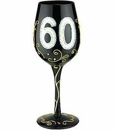 """Bottom's Up 15-Ounce 60 Handpainted Wine Glass by 95 and Sunny. $19.99. Each glass is boxed in its own distinctive gift box. Hand painted 15-ounce wine glass. Pictures show same glass front and back. Bottom's Up """"60"""" Hand Painted 15-ounce Wine Glass. Celebrate with this festive hand painted wine glass. It is appropriate for either red or white wine. The oversized 15-ounce capacity allows plenty of space for the wine to breathe, allowing its full richness to unfol..."""