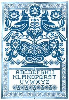 Sampler in Blue - Cross Stitch Pattern: