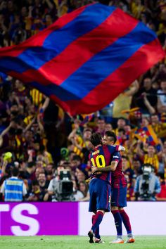 Neymar Santos Jr of FC Barcelona is congratulated by his teammate Lionel Messi after scoring his team's second goal during the Copa del Rey Final between Athletic Club and FC Barcelona at Camp Nou on May 30, 2015 in Barcelona, Catalonia.