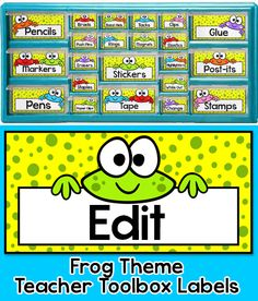 """Create a whimsical teacher toolbox with these fun frog theme editable labels. These labels are designed to fit the """"Stack-on"""" 22 drawer and 39 drawer organizers from Lowe's. By Pink Cat Studio"""