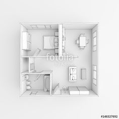#Freehand #drawing #sketch of #furnished #home #apartment