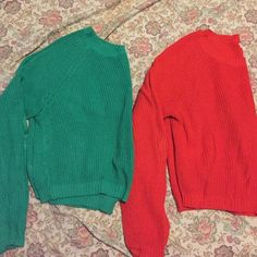 2 Knit Sweater Crop Tops Super cute, long sleeve. One blue green one orange. They're thinly knitted so they can be worn in many seasons Mossimo Supply Co. Tops Crop Tops