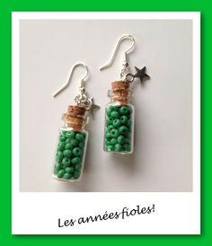 Boucles d'oreille les années fioles vert : Boucles d'oreille par lesbijouxdelareine