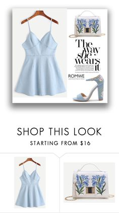 """#4/10 Romwe"" by munira-salihovic ❤ liked on Polyvore featuring Azules"