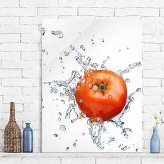 Glasbild Küche - Frische #Tomate - Hoch 4:3#Glasbild #Glasbilder #brillante #Bilder für #Küche und #Bad #edel #hochwertig #Glas #Bild