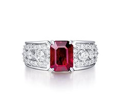 A 1.99 CARAT BURMESE 'PIGEON'S BLOOD' RUBY AND DIAMOND RING. Set with cut-cornered rectangular-cut ruby weighing 1.99 carats, to the diamond-set shoulders and hoop, mounted in platinum.