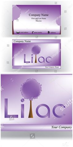 #vector #illustration #Business #card with #lilac text where l #letter is represented by a lilac #tree