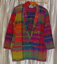 Colorful Southwest tapestry cotton career blazer jacket Medium, unused Angelique #Angelique #Blazer