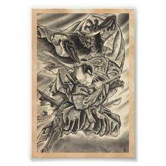 Cool vintage japanese demon samurai fight tattoo poster | Zazzle
