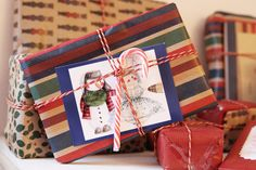 christmas wrapping inspiration {brown green and red}