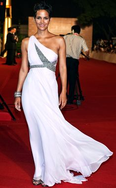 Form Fitting from Fashion Spotlight: Halle Berry  At the Shanghai Film Festival, Halle gets her goddess on in an ethereal, whisper-pink Marchesa gown with sequins.