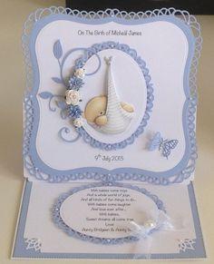 Newborn Baby Card (Site: photo only) Baby Boy Cards, New Baby Cards, Baby Shower Cards, Pop Up Cards, Cool Cards, Baby Scrapbook, Scrapbook Cards, Baby Announcement Cards, Marianne Design