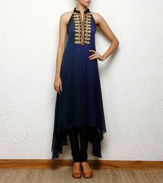 #blue #kurta #dress with #gold hand #embroidery @AlankarBoutique New Delhi  Perfect For #indo-western, #tunic #fusion wear