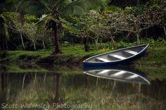 Canoe on the river, Cahuita, Costa Rica
