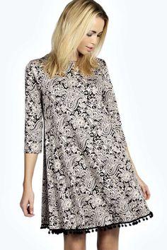 Ellie Pom Pom Trim 3/4 Sleeve Swing Dress alternative image