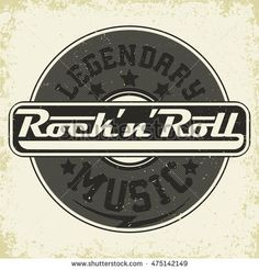 Monochrome Rock and Roll music print, hipster vintage label, t-shirt graphic design, lettering artwork, vector