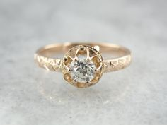 European Cut Diamond, Antique Rose Gold, Sweet Engagement Ring from Victorian Era 4ZY0YY-P