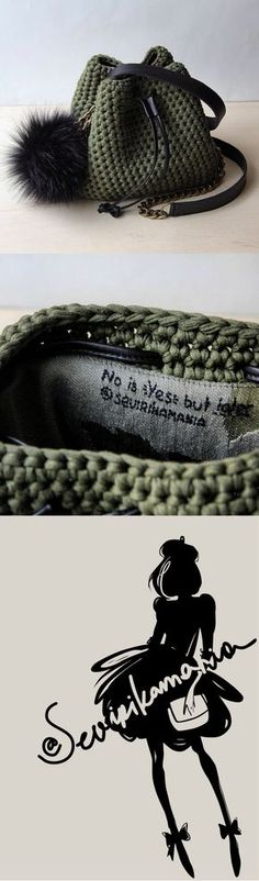 bucket purse || mini bucket bag || t shirt yarn purse || crochet bag