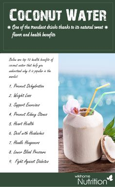 Health benefits of Coconut water: one of the trendiest drinks thanks to its natural sweet flavor and health benefits