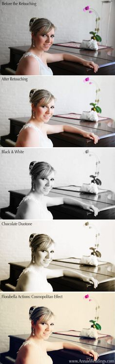 http://www.AnnasWeddings.com | Bridal Portrait retouched in photoshop. Before and after version, along with black and white, chocolate duotone, and florabella effect.