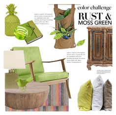 """""""Color Challenge: Moss Green and Rust"""" by janephoto ❤ liked on Polyvore featuring interior, interiors, interior design, home, home decor, interior decorating, Pure Home, Safavieh, Joybird Furniture and Arteriors"""