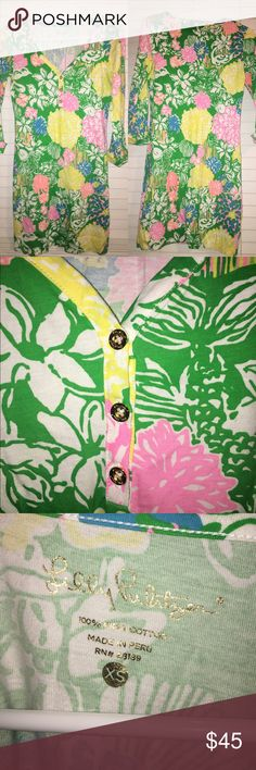Lilly Pulitzer Summer 2016 Pima Cotton Dress From summer 2016 collection/size XS/worn 3 times - hand washed each time/100% Pima Cotton/three quarter length sleeve/no stains/no smoke/no pets/ lovely spring-summer piece!! Bought on Lilly Pulitzer site. Lilly Pulitzer Dresses