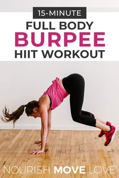 This full body HIIT workout burns calories and will have you drenched in sweat in just 15 minutes! A full body workout made up of different burpee variations -- are you up for the challenge? Emom Workout, Full Body Hiit Workout, Hiit Workout At Home, Belly Fat Workout, At Home Workouts, Strength Workout, Burpees, Intense Leg Workout, Butt Kicks