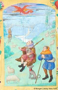 Book of Hours, MS M.1053 fol. 66v - France, probably Cambrai, 1490-1500 - Shepherds: Annunciation
