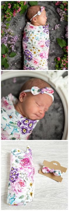 Cutest baby girl photo prop blanket set with swaddle and nylon bow