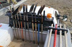 shovel tool holder - shovels, brooms, rake, rack organizer. good for construction & landscaping storage, used with jeep, utv, dump truck, garage, tool box, atv, trucks, Truck Tools, Truck Tool Box, Dump Trucks, Fire Trucks, Work Trailer, Lawn Trailer, Truck Storage, Tool Storage, Landscape Trailers