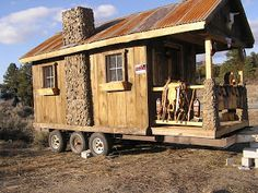 Mini Houses On Wheels log cabin on wheels with covered porch for sale ($3,500) | tiny