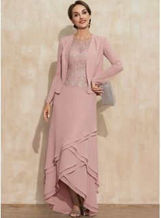 A-Line Square Neckline Asymmetrical Chiffon Mother of the Bride Dress With Appliques Lace Sequins (008235589) - JJ's House Mother Of The Bride Dresses Long, Mother Of Bride Outfits, Brides Mom Dress, Swatch, Custom Dresses, Marie, Wedding Dresses, Scoop Neck, Special Occasion