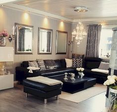 how to decorate around the black leather couch for the home home rh pinterest com