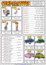 comparative forms of adjectives esl grammar gap fill exercises worksheet icon