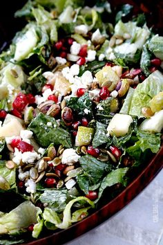 Pomegranate, Pear, Pistachio Salad with Creamy Pomegranate Dressing   http://www.carlsbadcravings.com/pomegranate-pear-pistachio-salad-creamy-pomegranate-dressing/