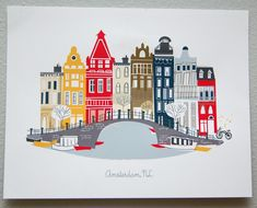 Amsterdam seasonal release by albiedesigns on Etsy House Illustration, Travel Illustration, Digital Illustration, Peace By Piece, Travel Sketchbook, House Drawing, Framed Prints, Poster Prints, Architecture Drawings
