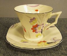 Art Deco TAMS Ware CUP and Saucer England 1940s by vintagevasso