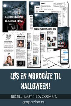 """""""Halloweenmordet på Haunted Housel"""" er en finurlig, morsom og enkelt gjennomførbar mordgåte. Mordgåten krever ingen utkledning eller skuespillerinnsats av gjestene, men er et passe vrient mysterium som alle, uansett antall gjester, kan være med og løse. Om man vil kan man dele opp gjestene i par eller i lag som sammen løser mordgåten. #mordgåde #halloween #fest #party Halloween 2019, Halloween Costumes, Escape Room, Halloween Decorations, Party Themes, Entertaining, Education, Funny, Books"""