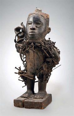 Kongo Nkisi Nkondi Figure, DR Congo                                                                                                                                                     Plus